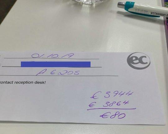 Malta dil okulu eksik ödeme dekontu. Firmalar size usulsüz indirim sağlarsa okul kalan ödemenizi bu şekilde sizden isteyecek.