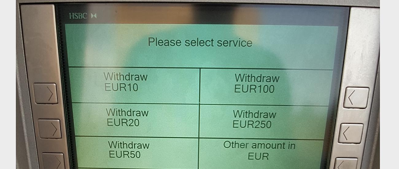 malta atm para çekmek. türk banka kartıyla euro çekmek mümkündür.